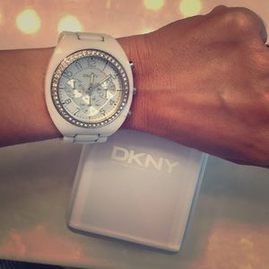 "DKNY White ceramic ""bling"" watch"